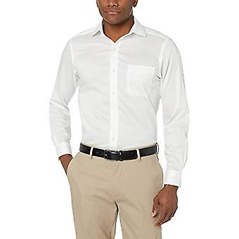 KNAPPET NED Men's Skræddersyet Fit Stretch Twill Ikke-Jern Kjole Shirt, Hvid, 1 ...