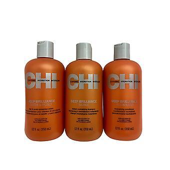 CHI Deep Brilliance Shampoo, Conditioner & Schutzcreme je 12 OZ