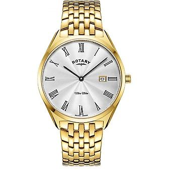 Rotary GB08013-01 Hombres's Ultraslim Gold Tone Case Wristwatch