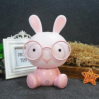 Modern Cartoon Table Lamp, Kids Room Bedside Glasses Rabbit Led Usb Light Decor