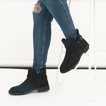 UGG إليسا السيدات جلد الغزال الكاحل أحذية الأسود