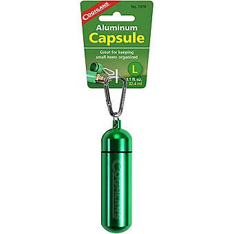 Coghlan's Aluminum Capsule with Carabiner, Watertight Seal - Large 1.2 x 4.3 in""