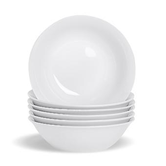 "6 Piece White Breakfast Cereal Bowl Set - Classic Porcelain Dessert Bowls Oatmeal Bowls - 178mm (7"")"