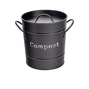 Industrial Compost Bin - Vintage Style Steel Kitchen Storage Bucket - Removable Inner - Black