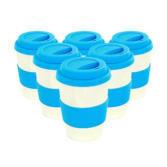 Reusable Coffee Cups - Bamboo Fibre Travel Mugs with Silicone Lid, Sleeve - 350ml (12oz) - Blue - Pack of 6