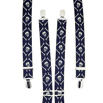Krawatten Planet Marine blau & Elfenbein Schädel & Knochen Männer's Hosenträger