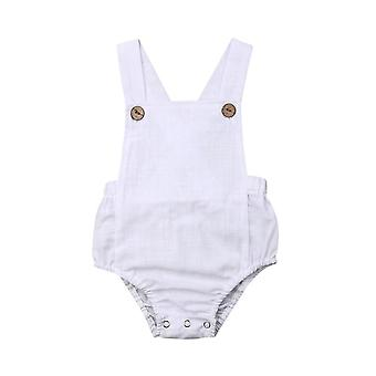 Newborn Infant Baby Summer Button Jumpsuit Solid Outfits Clothes