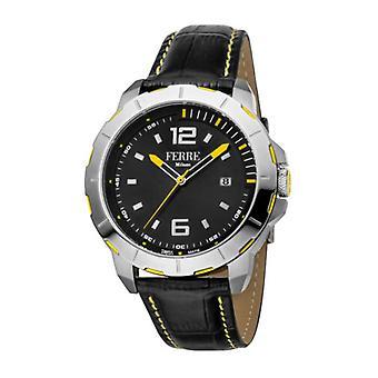 Ferre Milano Men's FM1G107L0011 Black Leather Date Wristwatch