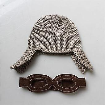 Knit Crochet Baby Hat For Boys Newborn Toddler Infant Photo Prop Pilot-style Cap Outfit Set (brown)