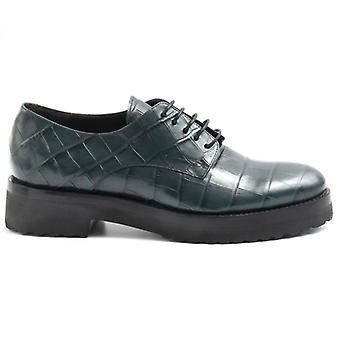 Luca Grossi Lace-up Shoe In Green Leather Coconut Print