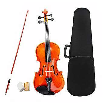 1/2 Size Natural Violin Basswood Steel String With Case Arbor Bow Rosin Bridge-