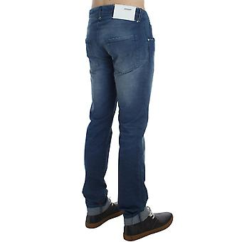 Elegancki outlet blue wash denim bawełna stretch slim fit dżinsy