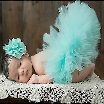 Saia de bebê recém-nascida conjunto fotografia props tutu headband set roupa