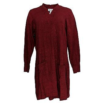 Denim & Co. Femmes's Petit Pull Cardigan à manches longues Rouge A381050