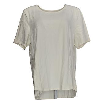Denim & Co. Kvinder's Top Jersey Scoop Hals kort ærme Hvid A383274