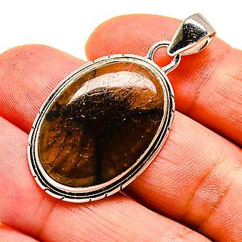"Chiastolite 925 Sterling Silver Pendant 1 3/4""  - Handmade Boho Vintage Jewelry PD741626"