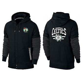Boston Celtics Knappet glidelås sport hette løs sweatshirt sportsklær WT016