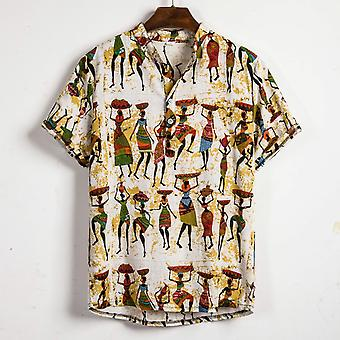 Männer Kurzarm Shirt Sommer Floral Lose Baggy Casual Holiday Shirts