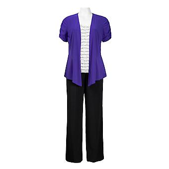 Shutter Pleat Top With Attached Rushed, Jacket Jersey, Pants Set