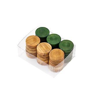 Deluxe olijf hout Backgammon stenen natuurlijke & groen 26mm