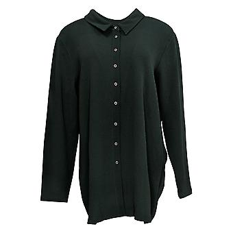 Attitudes by Renee Women's Top Button Front Textured Tunic Green A372053
