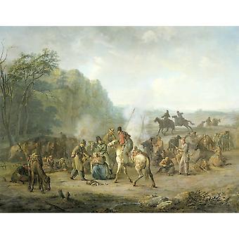Cossaco Bivouac 1813 Louis Moritz C 1813-14 pintura holandesa óleo na lona descansando soldados e cavalos com poucos soldados em torno de uma mulher ajoelhada que implora por misericórdia Poster Print