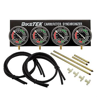 BikeTek Motorcycle Carburettor Synchronizer Vacuum Gauge Balancer 4 Cylinder