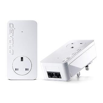 Devolo dlan 550 duo+ powerline starter kit (500 mbps, 2 x plc homeplug adapter, 2 x lan ports, pass