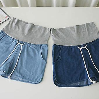 Shorts en denim à cordon taille haute femmes enceintes avec poches