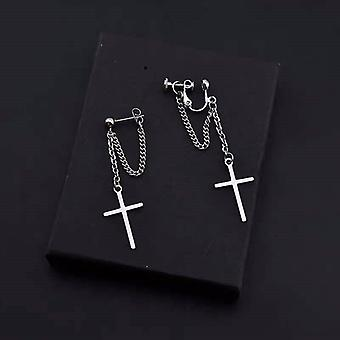 Harajuku Cool E-girl Cross Chain Pendant Earrings