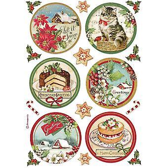 Stamperia Riisipaperi A4 Hyvää joulukierrosta
