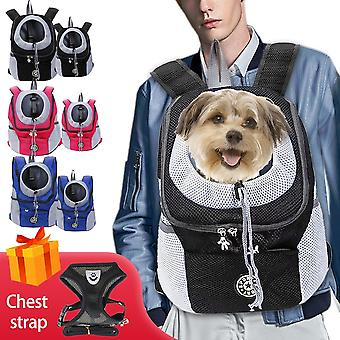 Pet Travel Bag, Double Shoulder, Portable Backpack, Outdoor Dog Carrier, Front