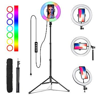 Selfie Flash Dimmable 10 RGB LED 8'' Ring Light Tripod Stand Phone Holder & Bag