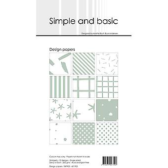 Simple and Basic Sage Slim Paper Pack