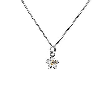 Sterling Silver Pendant Necklace - Origins Tiny Daisy + Brass