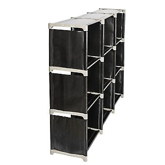 Multifunctional Assembled 3 Tiers 9 Compartments Storage Shelf Black