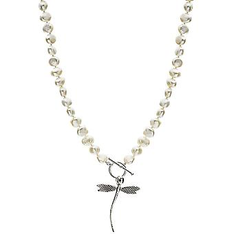 Pearls of the Orient Vita Freshwater Pearl Dragonfly Necklace - White/Silver