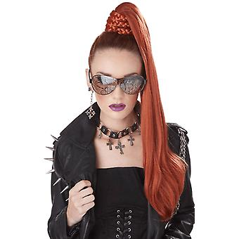 Womens Red Ponytail Hairpiece Wig Glam Popstar Fancy Dress Costume Accessory