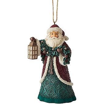 Jim Shore Heartwood Creek Victoriaanse kerstman met lantaarn en slinger hangend ornament