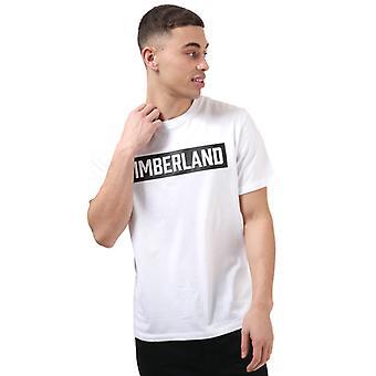 Menn's Timberland SS 3D preget T-skjorte i hvitt