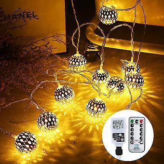 FengChun 10M Marokkanische Lichterkette innen Strombetrieben, 30 LED Silberkugel Lichterketten mit