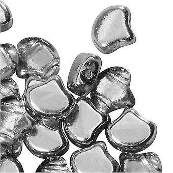 Tsjechisch glas, 2-gats Ginko kralen 7,5 mm, 10 gram, crystal met achtergrondverlichting
