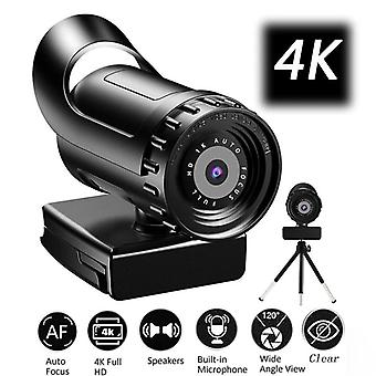 Webcam 4K Auto Focus PC Web Cam Full Wide Angle Beauty Camera with Microphone Webcams(4K )