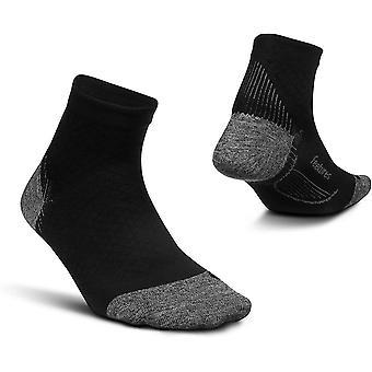 Feetures Plantar Fasciitis Relief Quarter length Ultra Light Cushion Unisex Running Socks, Black - Small