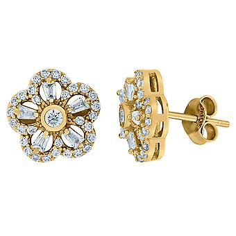 10k Yellow Gold Mens Round & Baguette CZ Cubic Zirconia Simulated Diamond Floral Stud Earrings Jewelry Gifts for Men