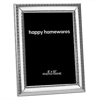"""Modern Silver Plated Metal 8"""" x 10"""" Picture Frame with Etched Squares Design"""