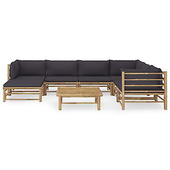 vidaXL 8 stuks. Tuin lounge set met donkergrijs kussen bamboe