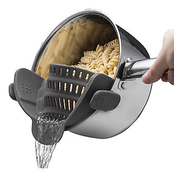 Grey universal silicone clip-on pot strainer colanders cai889