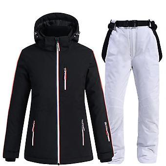 Women Ski Jacket +strap Snow Pants