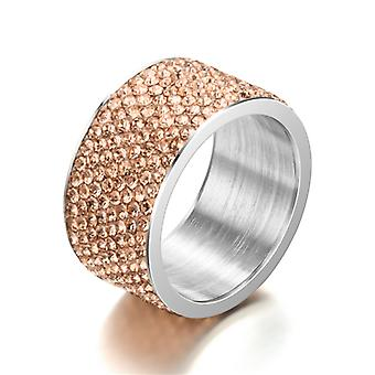 Titanium Steel Rings Female Joint Ring Full Diamond 12mm Wide Ring Jewelry